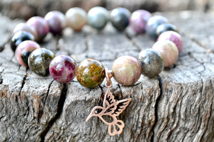 Multicolor Tourmaline with Hummingbird Sterling Silver Rose Gold Charm Bracelet
