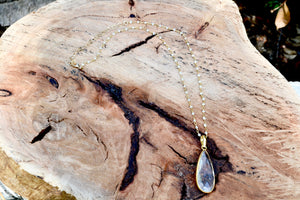 Large Clear Quartz Teardrop Pendant Necklace