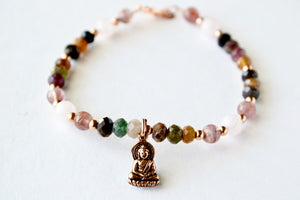 Multicolor Tourmaline and Madagascar Rose Quartz Bracelet