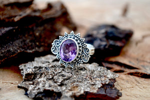 Amethyst Protection Healing Stone Ring