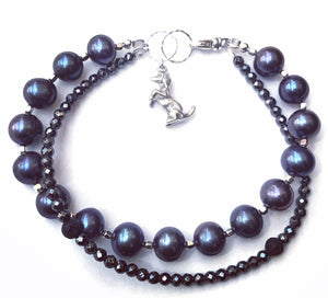 Double Bracelet Genuine Pearls with Black Hematite and Dog Sterling silver Bracelet