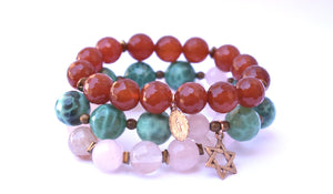Summer Stack-Rose Quartz/Red Juicy Agate/Green Fire Agate Love,Healing, Positivity