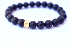 Black Matte Agate Gold Charm Healing Power Strength Unisex