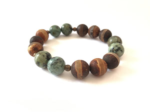 Earthy Stack-Black Matte Agate/ African Turquoise/DZI Healing Protection Communication