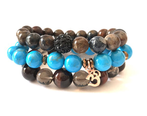 Ocean Stack-Pietersite/Blue Howlite/Red Tiger's Eye& Smokey Quartz