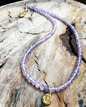 Amethyst Petite Necklace Mary Pendant