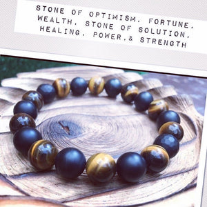 Tiger's Eye Black Matte Agate Health Wealth Unisex