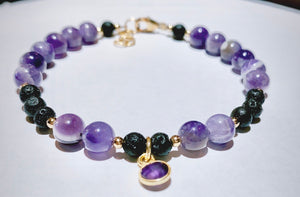 Amethyst & Amethyst Charm Dangle Bracelet
