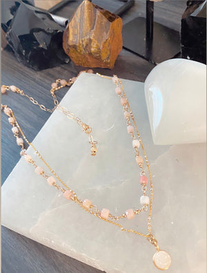 Cube Pink Opal Necklace 14k Gold Fill Doubled with Chain and Crystal Druzy Pendant