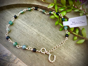 Sterling Silver Anklet made of Green Moss Agate & Black Agate for New Beginning, Abundance, Prosperity, Success, Healing, Positivity