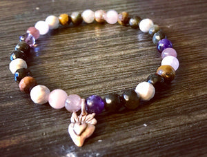"""The Works"" Stretch Bracelet with Heart Charm"