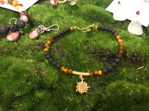 Tiger's eye Bracelet Aromatherapy Bracelet Fortune Protection Optimism Sterling Silver & Gold Sun Charm