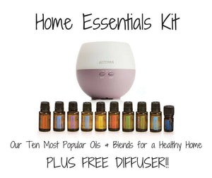 Home Essentials kit of 10 Basic Essential Oils plus FREE Diffuser