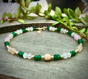 Citrine & Green Emerald Quartz in 14k Gold Fill Bracelet for Light & Happiness, Wealth & Abundance