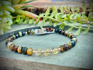 Tiger's eye & Yellow Citrine Bracelet Women's Bracelet For Fortune, Protection, Optimism, Light, Abundance, and Wealth