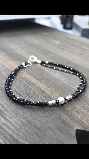 Black Spinel Faceted Gemstone Doubled with black sterling silver chain