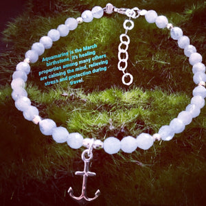 Aquamarine Bracelet with Anchor Charm Sterling Silver
