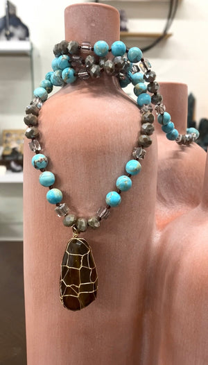 Long Turquoise Necklace with Large Wired Smokey Quartz  Pendant -VALTURQ-N