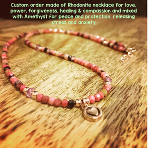 Rhodonite Necklace for Love, Compassion, Forgiveness, Healing, Mixed with Amethyst For Protection, stress and anxiety