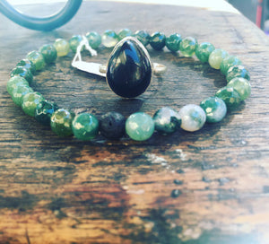 Moss Agate Small Beads with Lava (Unisex)