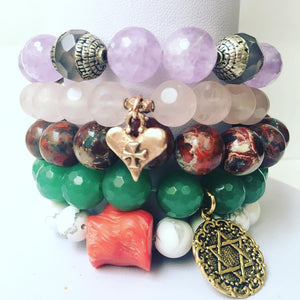 Stacked Set of Five (5) Love,Wealth,Peace,Stress Relief,Healing