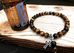 Tiger's eye Bracelet Gift Idea Women's Bracelet Aromatherapy Bracelet Fortune Protection Optimism Sterling Silver Cross