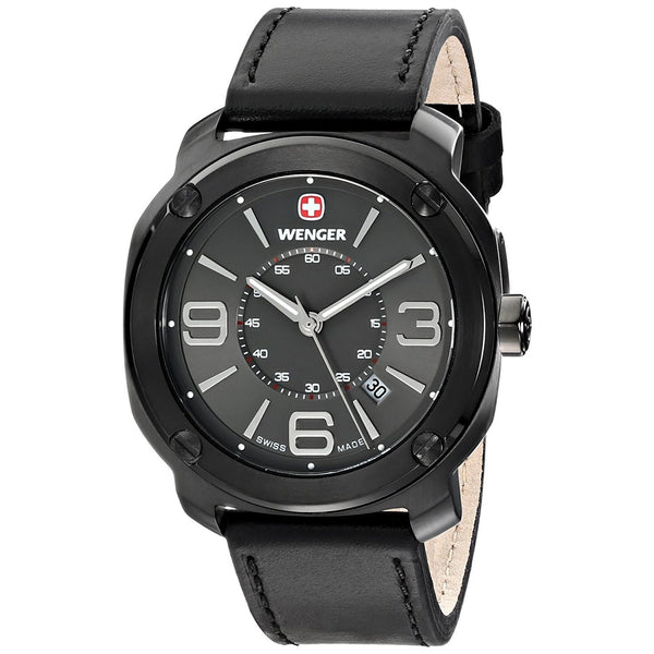 Wenger Men's 01.1051.108 'Escort' Black Leather Watch