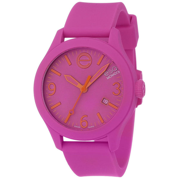 ESQ By Movado Unisex 07301435 'One' Pink Silicone Watch