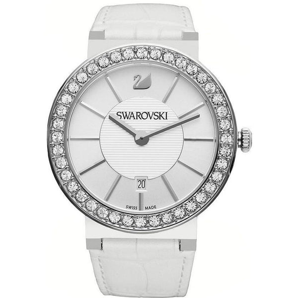 Swarovski Women's 1094360 'Citra Sphere' Crystal White Leather Watch