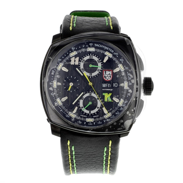 Luminox Men's 1188 'Tony Kanaan Limited Edition' Chronograph Valjoux  Automatic Black Leather Watch