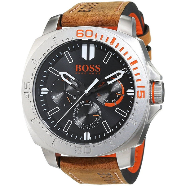 Hugo Boss Men's 1513297 'Orange Sao Paulo' Multi-Function Brown Leather Watch
