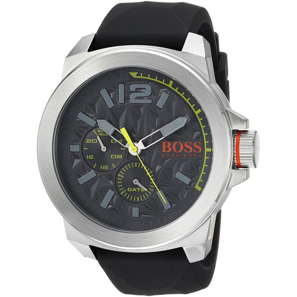 Hugo Boss Men's 1513347 'New York' Multi-Function Black Silicone Watch