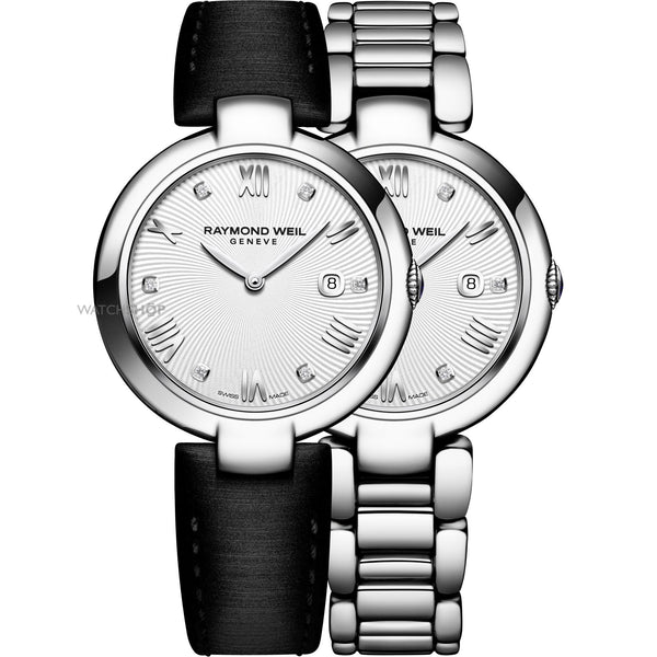 Raymond Weil Women's 1600-ST-00618 'Shine' Diamond Interchangeable Black Satin Strap Stainless Steel Watch