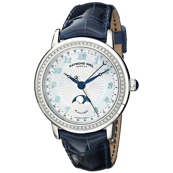 Raymond Weil Women's 2739-LS3-05909 'Maestro' Automatic Moonphase Diamond Blue Leather Watch