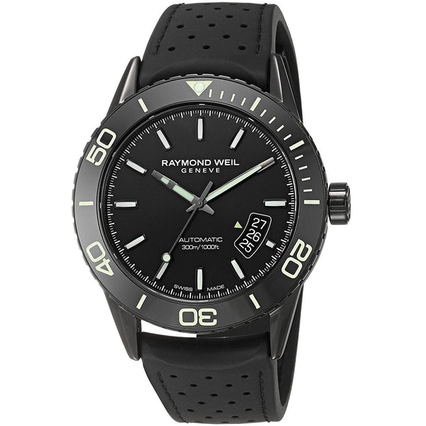 Raymond Weil Men's 2760-SB1-20001 'Freelancer' Automatic Black Rubber Watch