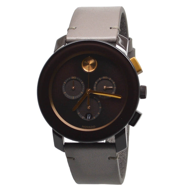 Movado Mens 3600445 'Bold' Chronograph Brown Leather Watch