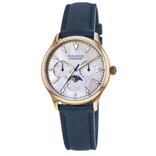 Movado Women's 3650011 'Heritage' Moonphase Multi-Function Blue Leather Watch
