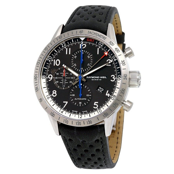 Raymond Weil Men's 7754-TIC-05209 'Freelancer' Chronograph GMT Automatic Black Leather Watch