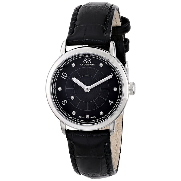 88 Rue du Rhone Women's 87WA120006 'Double 8 Origin' Diamond Black Leather Watch