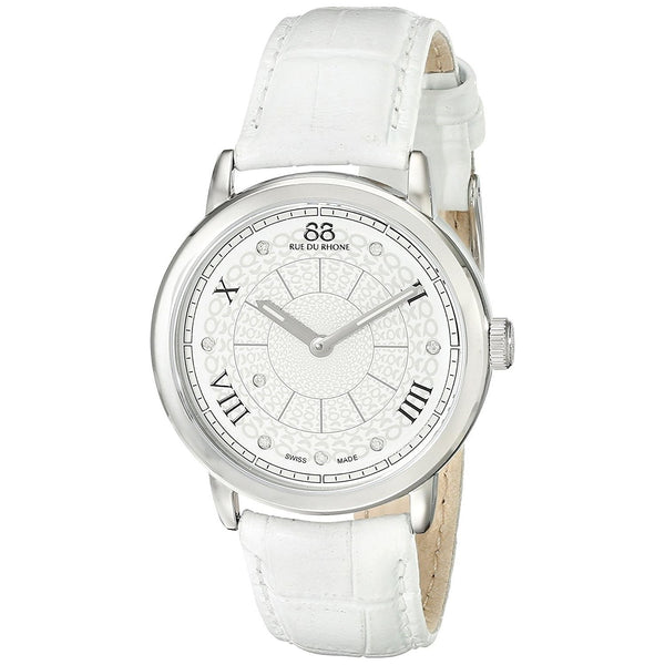 88 Rue Du Rhone Women's 87WA120008 'Double 8' Diamond White Leather Watch