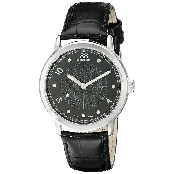 88 Rue du Rhone Women's 87WA120021 'Double 8 Origin' Diamond Black Leather Watch