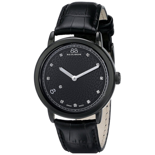 88 Rue Du Rhone Women's 87WA120022 'Double 8' Diamond Black Leather Watch
