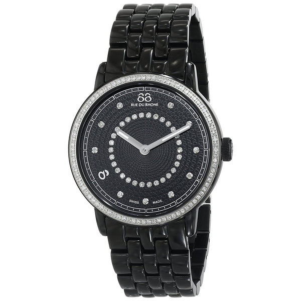 88 Rue Du Rhone Women's 87WA120023 'Double 8' Diamond Black Stainless Steel Watch