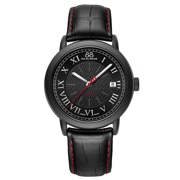 88 Rue Du Rhone Men's 87WA120035 'Double 8' Black Leather Watch