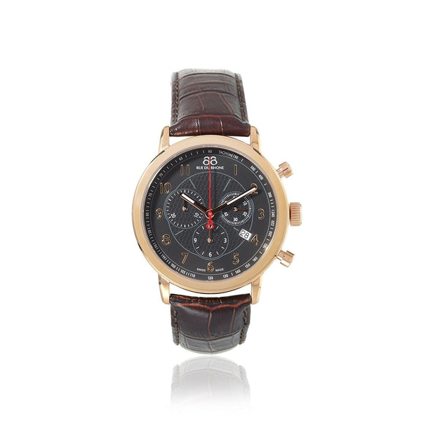 88 Rue Du Rhone Men's 87WA120050 'Double 8' Chronograph Brown Leather Watch