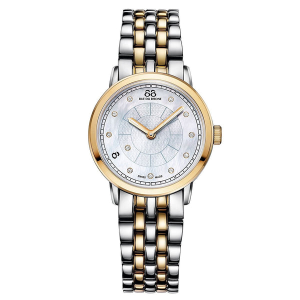 88 Rue Du Rhone Women's 87WA120059 'Double 8' Diamond Two-Tone Stainless Steel Watch