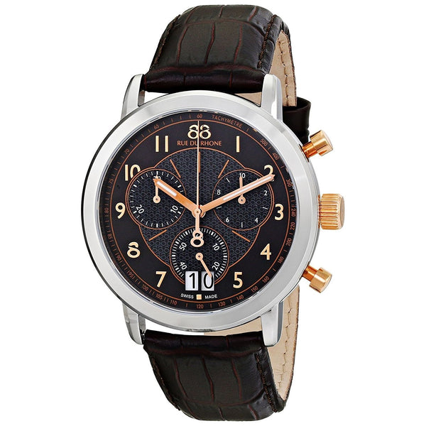 88 Rue Du Rhone Men's 87WA130024 'Double 8' Chronograph Brown Leather Watch