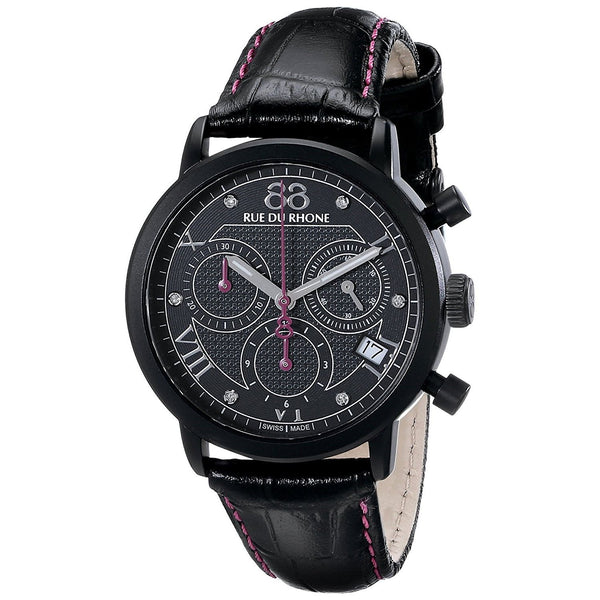88 Rue Du Rhone Women's 87WA130027 'Double 8' Chronograph Diamond Black Leather Watch
