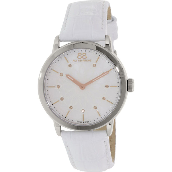 88 Rue du Rhone Women's 87WA140011 'Double 8 Origin' Diamond White Leather Watch