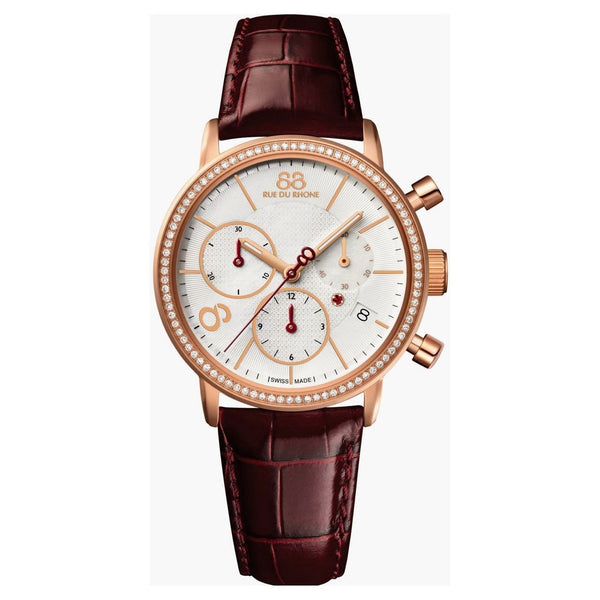 88 Rue Du Rhone Women's 87WA140035 'Double 8' Chronograph Diamond Brown Leather Watch